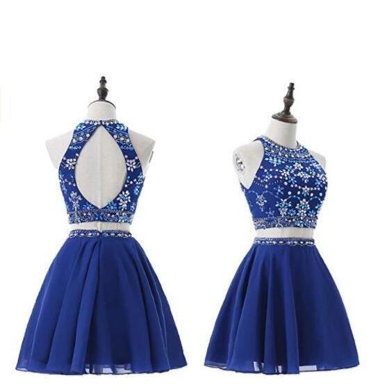 Shiny Royal Blue Beaded Crystal Short Homecoming Dress Ball Gown Cocktail Party Gowns ,Sexy Mini Party Gowns