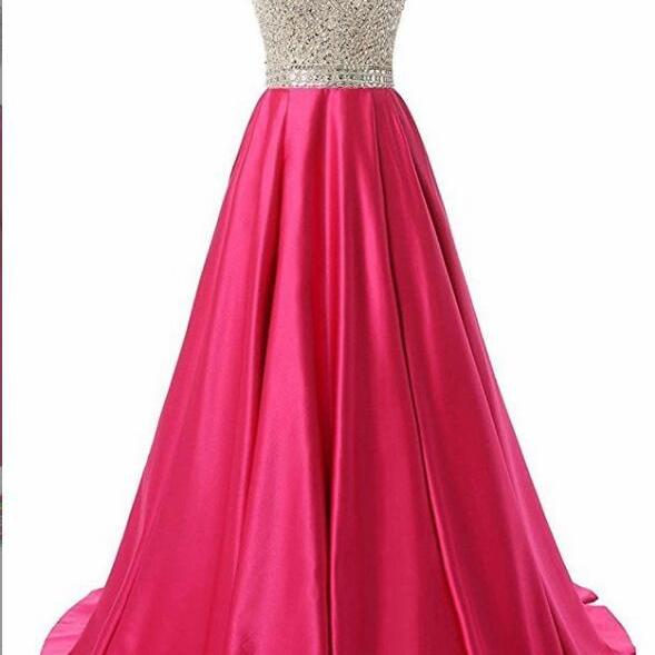 Vintage Fuchsia Corset Beaded Corset A Line Prom Dress 2019 Women Evening Party Gowns Sexy Backless Party Gowns