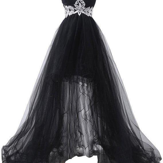 New Arrival Black Tulle High Low Prom Dress With White Lace, Sweet 16 Prom Gowns , Sexy Ball Gown Prom Gowns