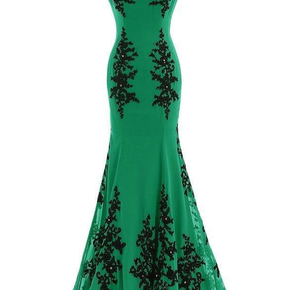 Women Green Chiffon Black Lace Aqppined Mermaid Prom Dress Sexy O-Neck Women Evening Party Gowns ,