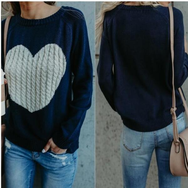 New Arrival Women Winter Autumn Sweather With Print Heart Long Sleeve Sweater ,Loose Pullover Knit Sweater,Navy Blue Sweater