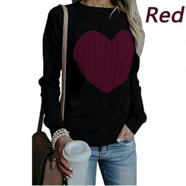 New Arrival y Women Winter Autumn Sweather With Print Heart Long Sleeve Sweater ,Loose Pullover Knit Sweater