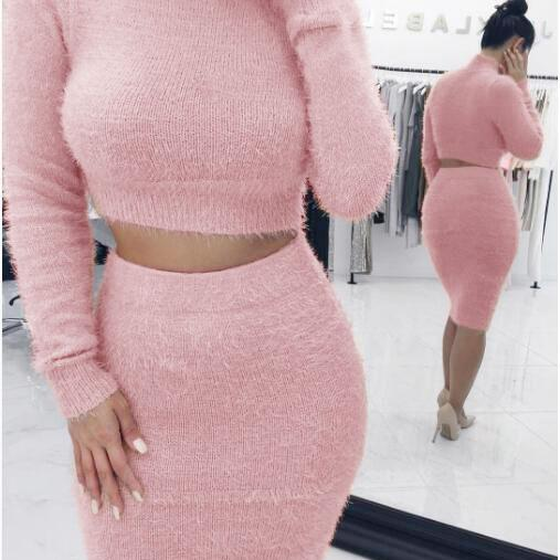 Women Winter Autumn Sweather Long Sleeve Sweater Pullover Knit Sweater,Boycon Sweater ,Pink Sweater,Two Pieces Long Sweater ,