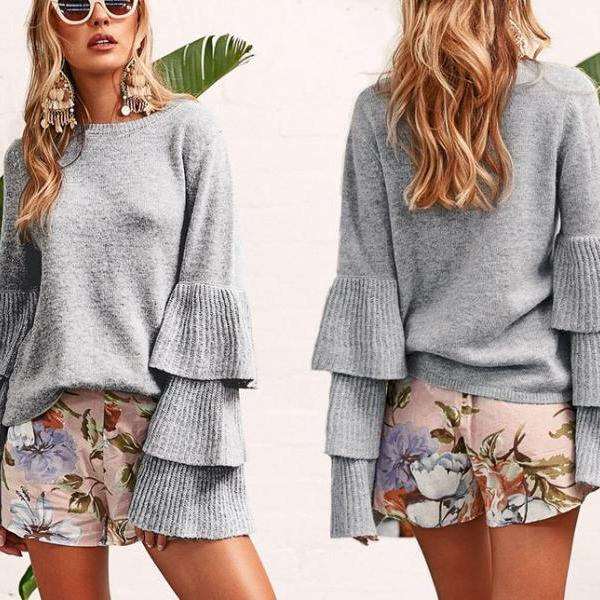 Women Autumn Sweather Long Sleeve Sweater Pullover Knit Sweater,Boycon Sweater ,Special Women Sweater With Ruffle ,Spring Sweater