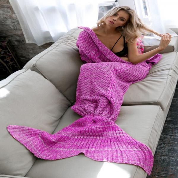 Beauty Purple Knitted Mermaid Blanket, Female Warm Blanket, Girls Gifts For Christms