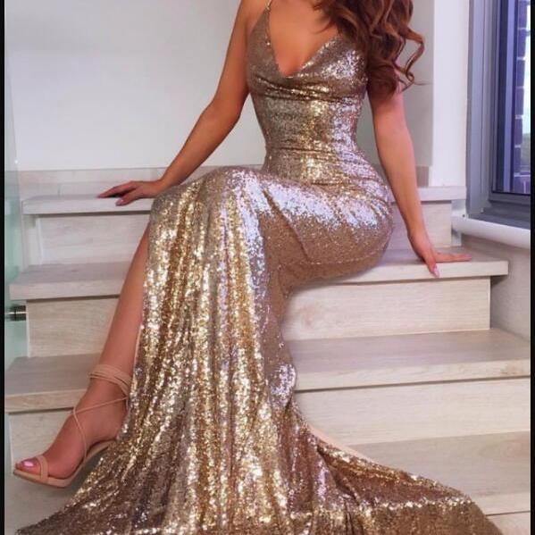 Sexy Women Sparkly Gold Sequin Mermaid Prom Dress Sweet 16 Evening Party Gowns ,Wedding Party Gowns