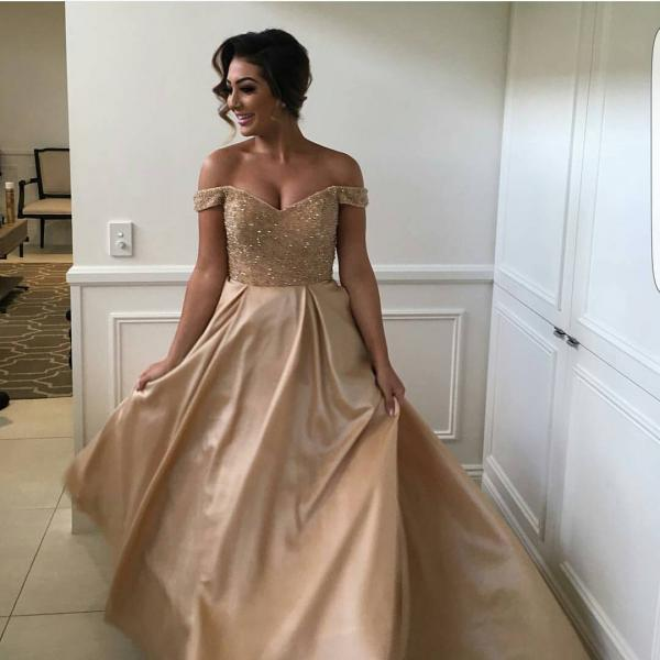 Sexy Plus Size Gold Satin Beading And Sequin Long Prom Dress, Sexy A Line Prom Party Gowns ,Off the Shoulder Prom Dress