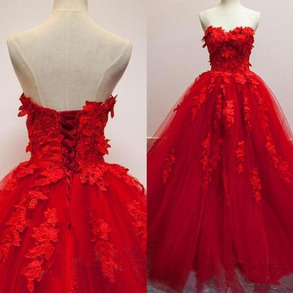 Red Tulle Pricess Wedding Dress, Custom Made Sweet Ball Gown Wedding Dresses,Women Bridal Gowns