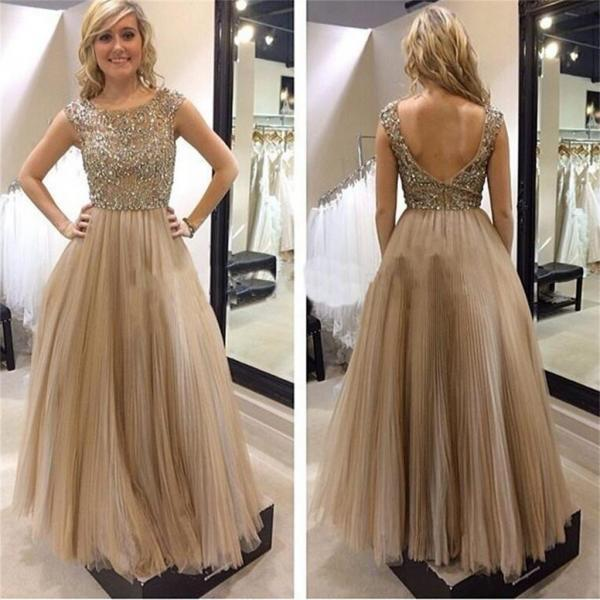 Fashion Champagne Tulle Beaded Long Prom Dress Plus Size Women Dress A Line Evening Dress
