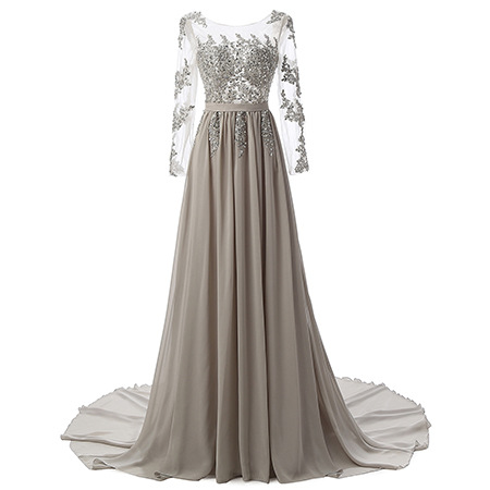 A Line Gray Chiffon Lace Prom Dress With Long Sleeve 2019 Elegant Plus Size Formal Evening Dress Custom Made Party Dresses