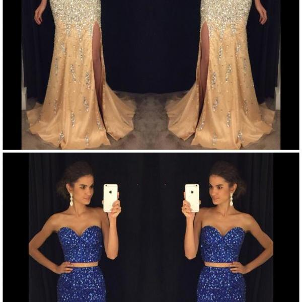 Luxury Two Pieces Crystal Beaded Mermaid Prom Dress, Sweet 16 Prom Gowns , Fashion Women Party Gowns ,