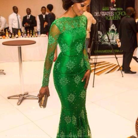 Elegant Emerald Green Lace Long Sleeve Mermaid Evening Dress Scoop Neck Women Gowns , Green Mother Of the Brides Dress