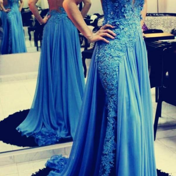 Fashion Blue Chiffon Lace Long Prom Dress, 2019 Custom Made Women Gowns , A Line Long Evening Dress ,