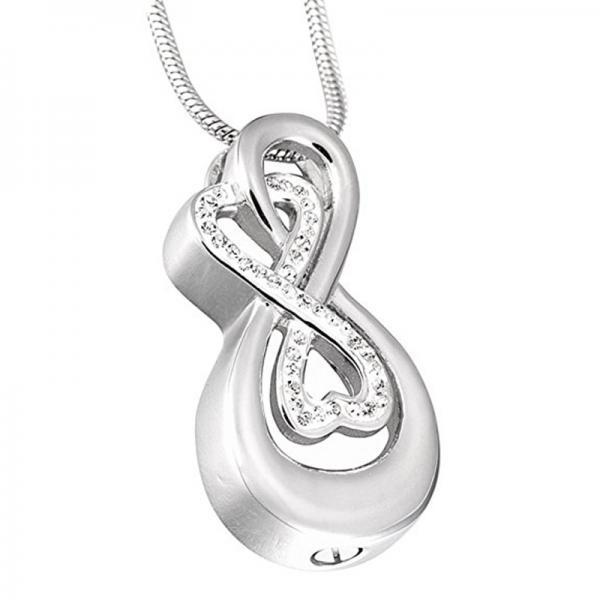 Stainless Steel Memorial Ashes Urn Necklace With Chain Funnel Love Heart Cremation Jewelry Silver colour