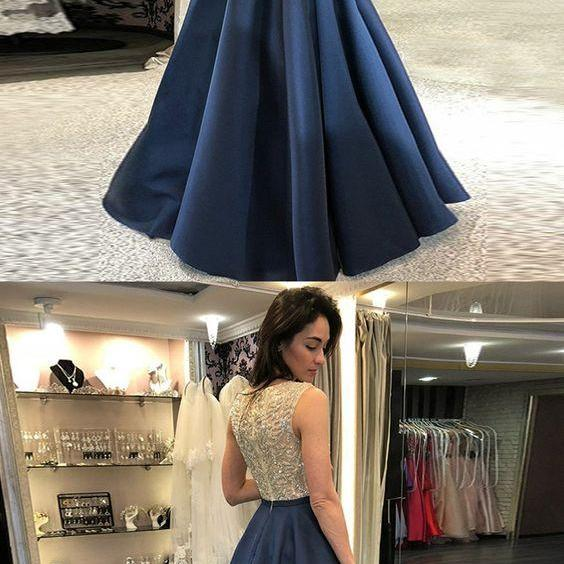 Navy Blue Beaded Crystal Corset Long Prom Dress, A Line Beading Women Prom GOWNS, Plus Size Women Evening Party Gowns , Long Pageant Gowns
