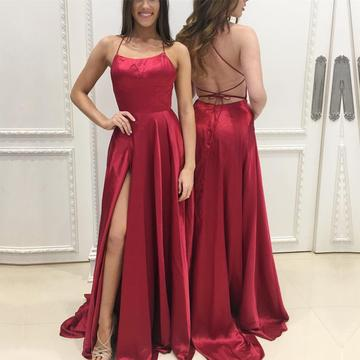 Sexy Backless Burgundt Satin Long Prom Dress Plus Size Split Prom Gowns Custom Made Women Evening Party Gowns