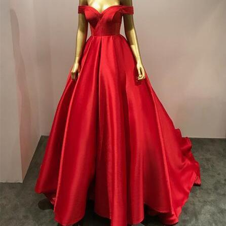 New Arrival Red Satin Ball Gown Prom Dress 2019 Custom Made Long Prom Gowns ,Sweet 16 Prom Gowns ,Off Shoulder Women Party Gowns