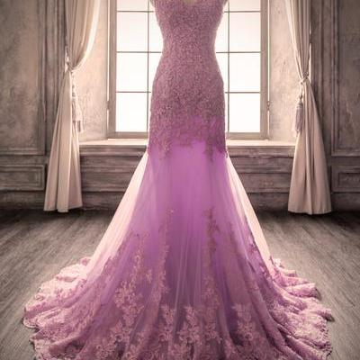 Fashion Spaghetti Strap Beaded Lavender Prom Dress Lace Mermaid Custom Made Long Evening Party Dress With Appliqued,Off Shoulder Mermaid Evening Dress