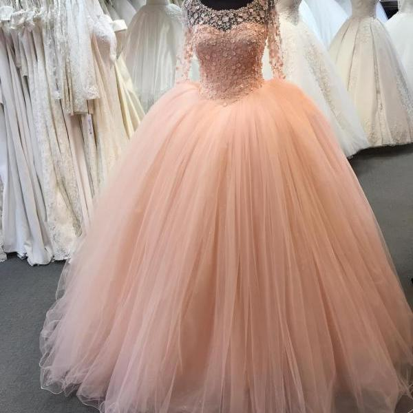 Fashion Ball Gown Quinceanera Dresses Custom Made Scoop Tulle Wedding Party Gowns ,Sexy Pricess Quinceanera Gowns