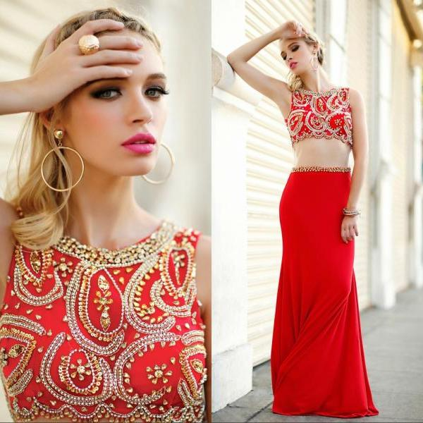Red Crystal Beaded Sheath Prom Dress Strapless Women Party Gowns , Fashion Red Prom Gowns