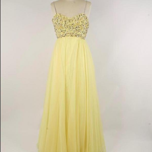 Fashion Yellow Beaded A Line Spaghetti Strap Long Prom Dress Floor Length Prom Party Gowns , Wedding Party Dress