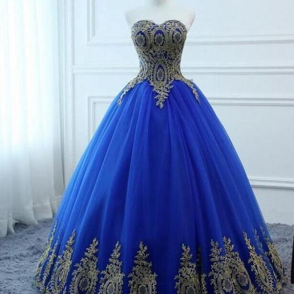 Plus Size Royal Blue Tulle A line Long Prom Dress With Lace Appliqued, Sweet 16 Quinceanera Dress, Wedding Prom Gowns For Women