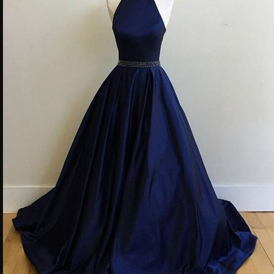 Plus Size Navy Blue Satin A Line Long Prom Dress Beaded Scoop Neck Women Evening Dress, Strapless Formal Party Dress