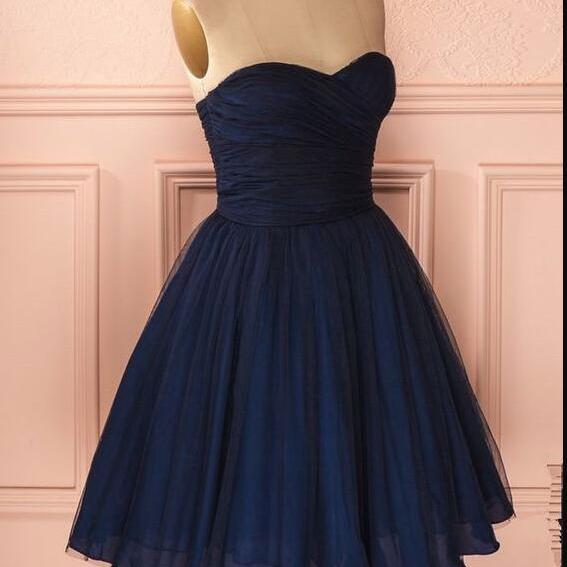 Stunning Navy Blue Ruffle Short Homecoming Dress Sweet Junior Party Gowns ,Custom Made A Line Cheap Bridesmaid Dress Short