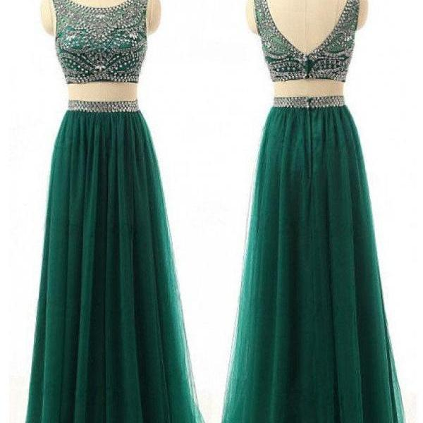 Two Pieces Beaded Long Prom Dress ,2 Pieces Homecoming Party Dresses,a line Prom Gowns