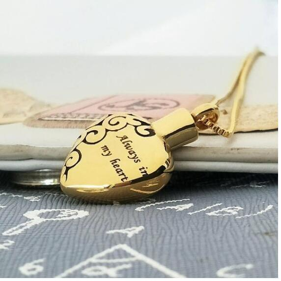 Gold Heart ashes necklace memorial jewelry cremation urns funeral accessories