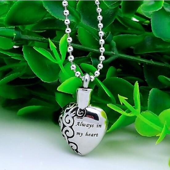Silver Heart ashes necklace memorial jewelry cremation urns funeral accessories