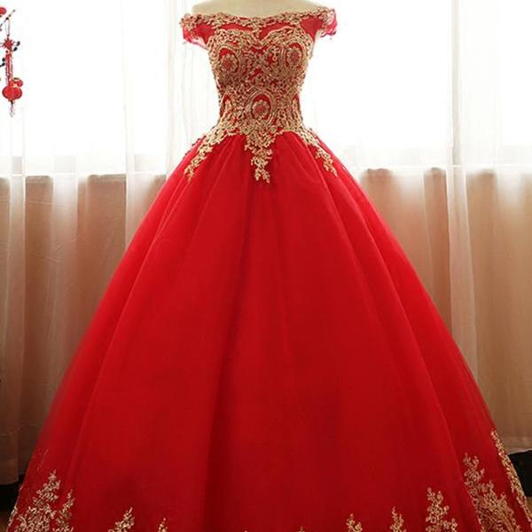 Sexy Custom Made Red Tulle A Line Prom Dresses With Gold Lace Appliqued Wedding Party Gowns ,Formal Quinceanera Dress