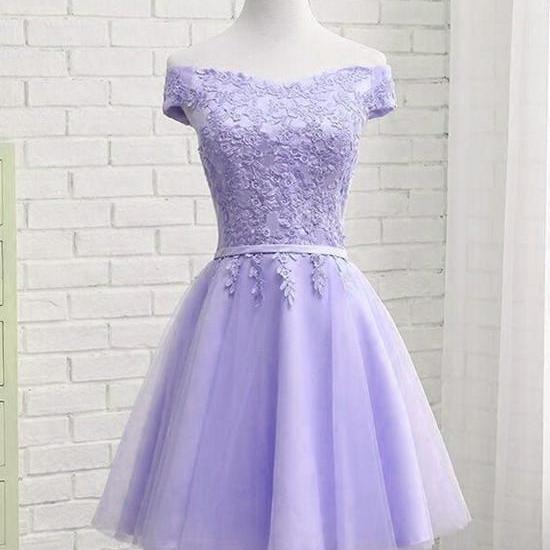 New Arrival A Line Lavender Tulle Prom Dress Short For Women Party Homecoming Dress With Appliqued ,Wedding Guest Gowns