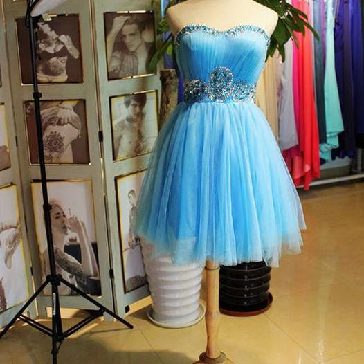 Elegant A Line Tulle Ruched Short Homecoming Dress With Beaded Above Length Women Prom Gowns , Sexy Sweet 16 Prom Gowns ,Cocktail Gowns Short