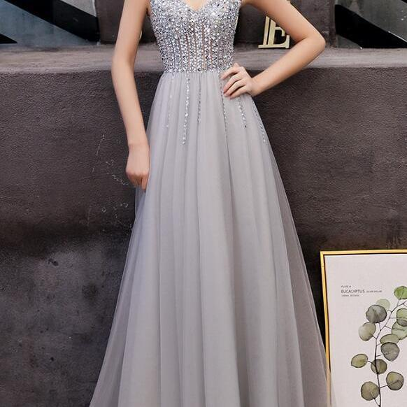 Fashion A Line Gray Tulle Beaded Formal Evening Dress V-Neck Long Prom Dress Custom Made Women Pageant Gowns 2019