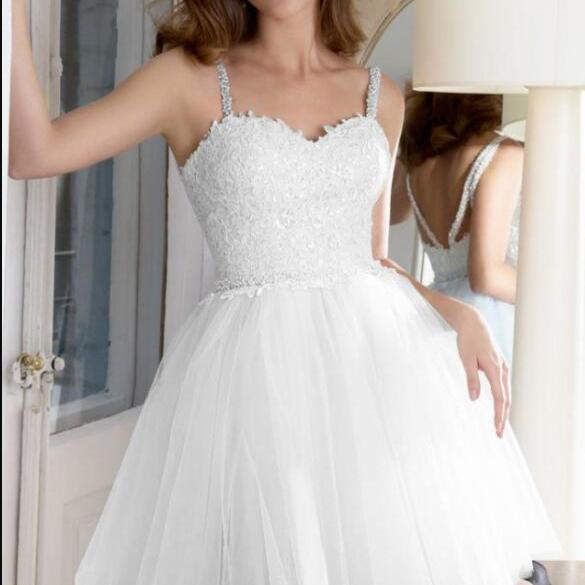 Cheap Spaghetti Strap White Lace Short Prom Dress Custom Made Mini Homecoming Party Gowns ,Short Bridesmaid Gowns