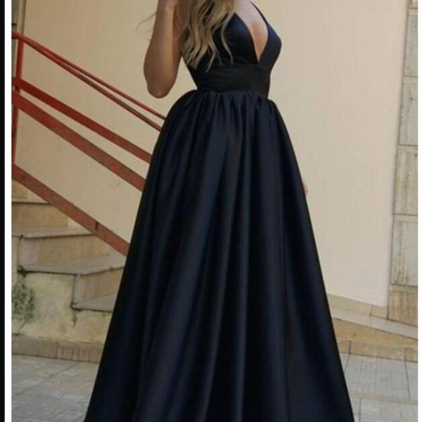 Cheap black Long Prom Dresses A Line Strapless Prom Gowns ,Wedidng Party Gowns