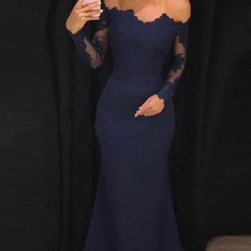 Fashion Navy Blue Lace Mermaid Prom Dress Custom Made Arabice Evening Dress With Sleeve,Navy Blue Bridesmaid Dress 2020