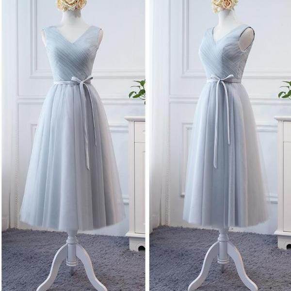 Sexy One Shoulder Silver Tulle Tea Length Bridesmaid Dresses A