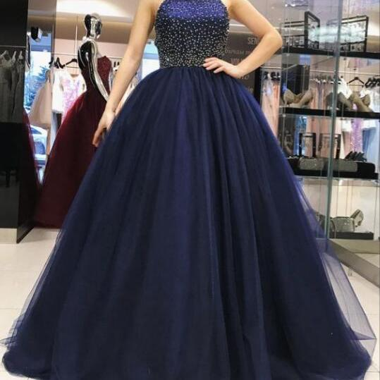 Plus Size Navy Blue Beaded Ball Gown Quinceanera Dresses Strapless Women Quinceanera Party Gowns , Long Prom Gowns