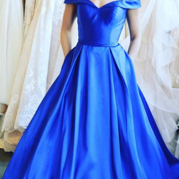 Cheap Royal Blue Satin Long Prom Dress A Line Women Party Gowns ,Formal Evening Gowns 2020