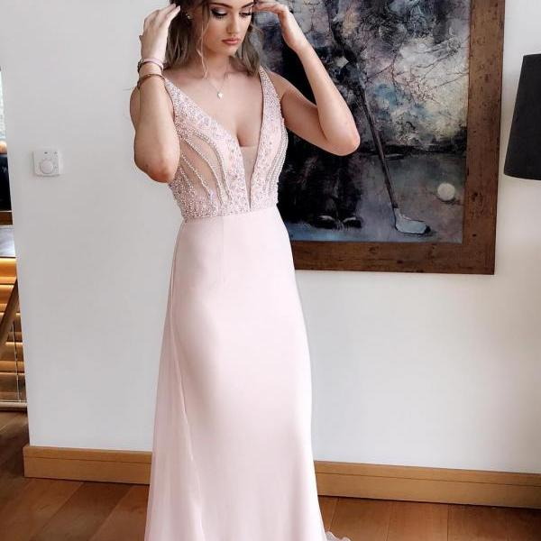 New Arrival Beaded Light Pink Deep V-Neck Formal Evening Dress ,A lINE Prom Party Gowns , Custom Made Prom Gowns