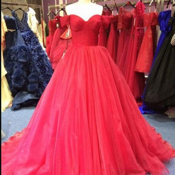 New Arrival Red Tulle Ruffle Ball Gown Quinceanera Dresses Custom Made Women Prom Party Gowns , Long Prom Gowns ,Sexy Prom Party Gowns 2020