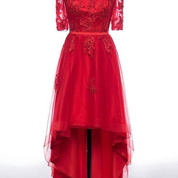 Cheap Red Tulle Lace High Low Prom Dresses 2020 Formal Evening Dress With Sleeve Women Party Gowns , sexy a line prom gowns