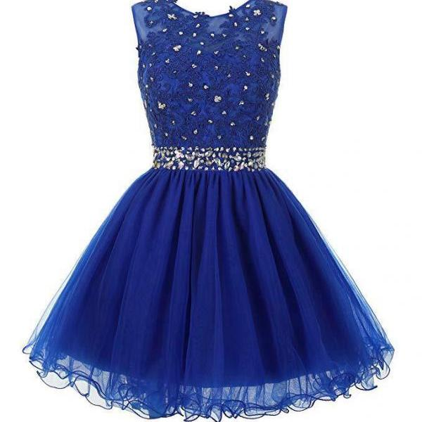 Sexy Scoop Royal Blue Tulle Beaded Short Homecoming Dress Custom Made Wedding Guest Gowns ,Short Cocktail Gowns