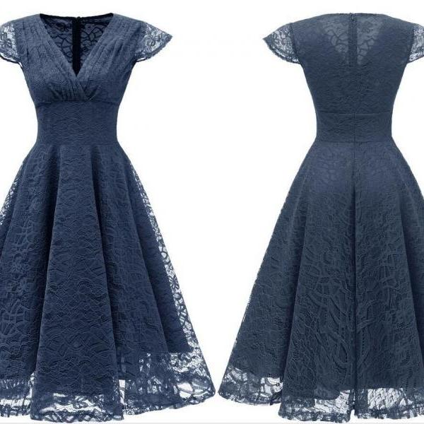 Navy Blue Short Soft Lace Prom Dress Off Shoulder Women Party Gowns , Short Bridesmaid Gowns , Party Dress . A Line Wedding Gyuest Gowns,Short V-Neck Lace Women Dress