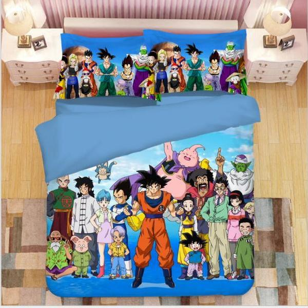 Queen Size:Duvet Cover(90x90inches),pillowcase(20x36inches) Dragon Ball style14 Z Goku 3D Duvet Cover Set Anime 3Pcs Bedding Set Soft(No Comforter) 1 X Duvet cover(without comforter) +2 X pillow shams ,