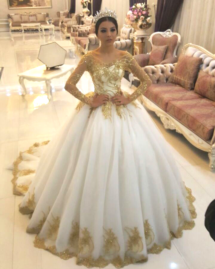 Gold Lace Appliques White Tulle Long Sleeves Bridal Ball Gown